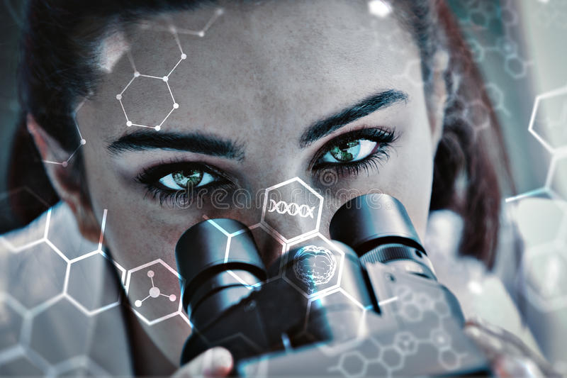 Composite image of close up of a scientist posing with a microscope. Close up of a scientist posing with a microscope against science and medical graphic royalty free illustration