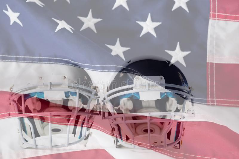 Composite image of close up of sports helmets. Close up of sports helmets against close-up of an american flag royalty free stock photo