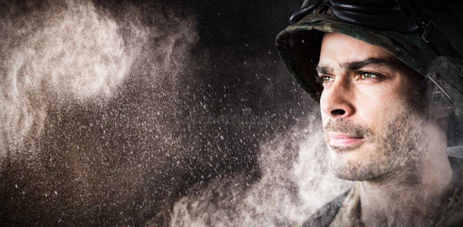 Composite image of close up of thoughtful military soldier stock images