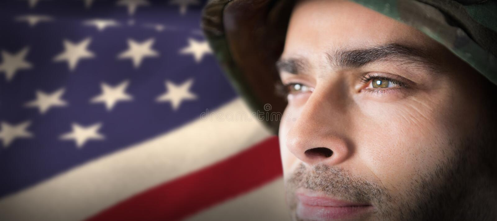 Composite image of close up of thoughtful soldier stock photos