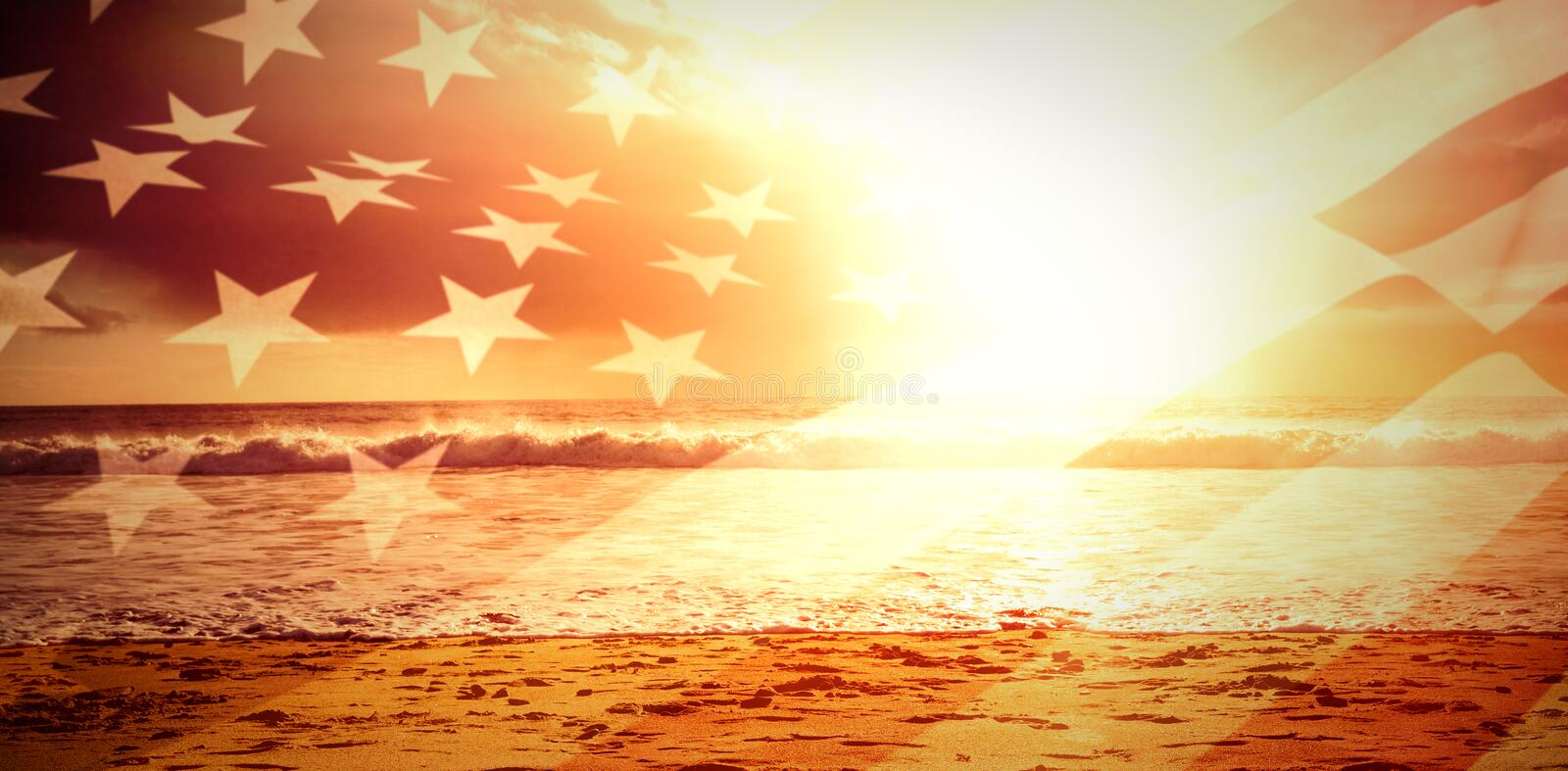 Composite image of close up of the us flag vector illustration