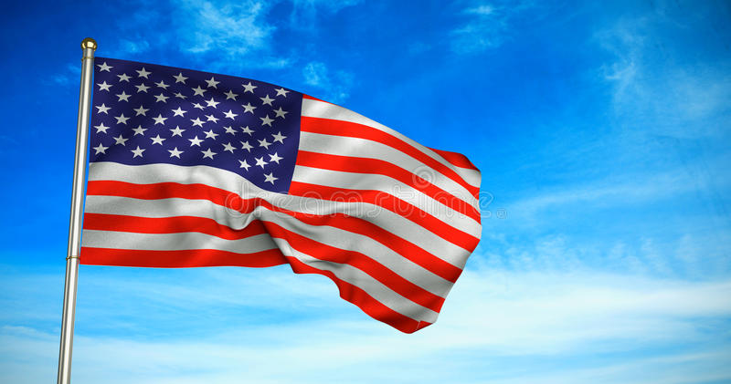 Composite image of close up of the us flag. Close up of the us flag against blue sky stock photos