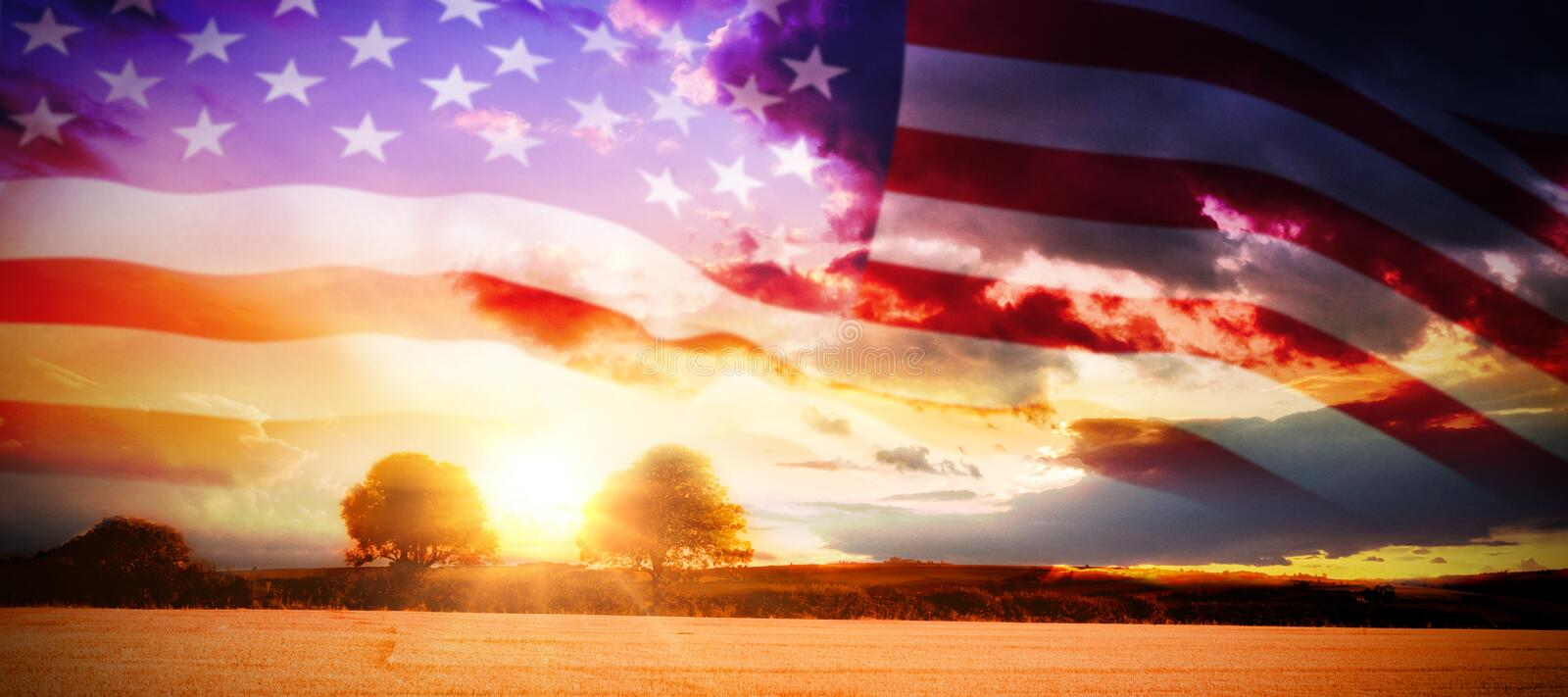 Composite image of close up of the us flag. Close up of the us flag against countryside scene stock illustration