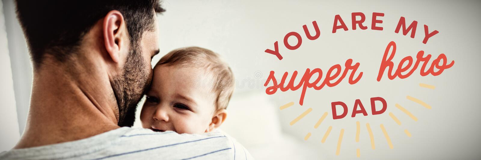 Composite image of close up of you are my super hero dad text stock photos