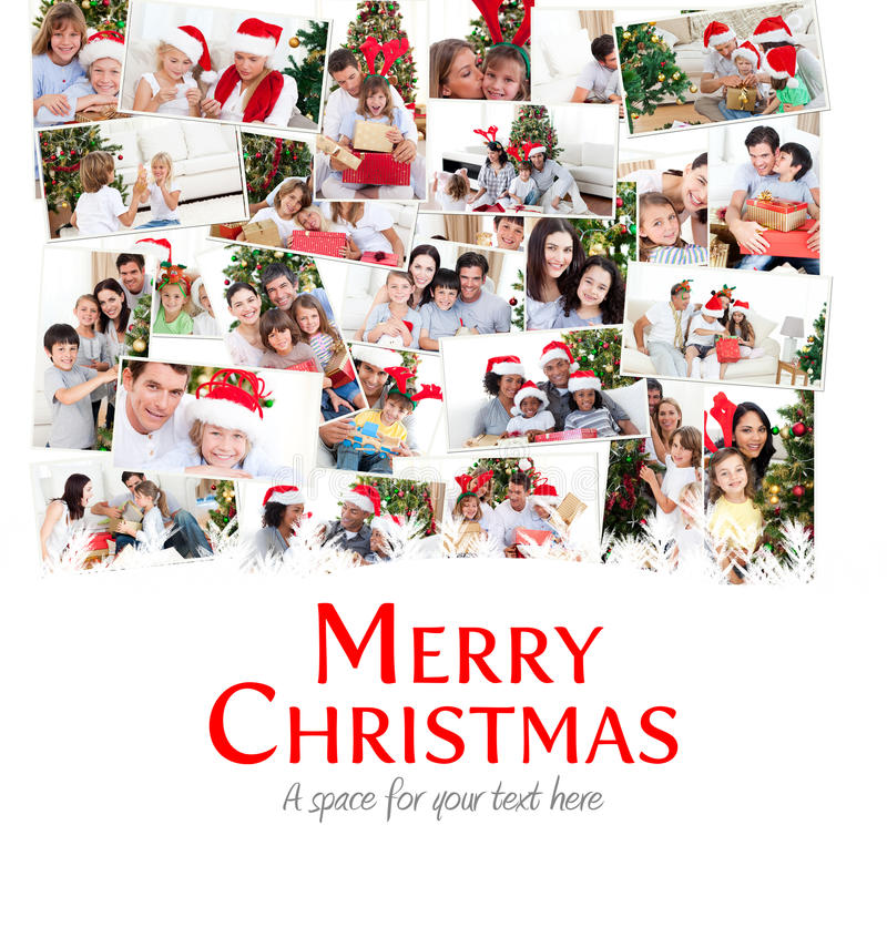 Composite image of collage of families celebrating christmas stock illustration