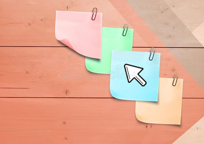 Composite image of colored Sticky Note Arrow Icon. Digital composite of colored Sticky Note Arrow Icon stock photography