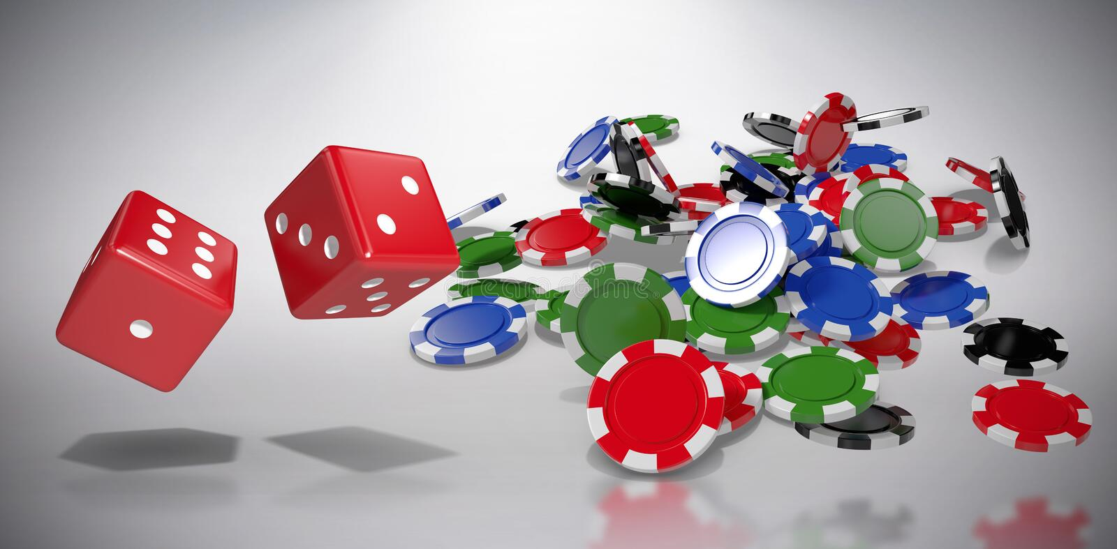 Composite image of composite 3d image of red dice. Composite 3D image of red dice against grey background stock illustration