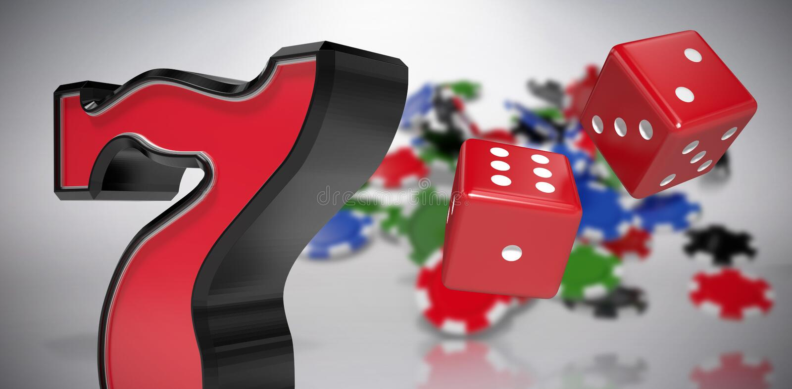 Composite image of composite 3d image of red dice. Composite 3D image of red dice against grey background vector illustration
