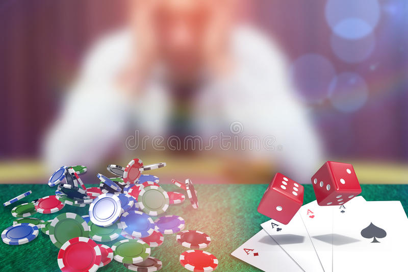 Composite image of composite 3d image of red dice. Composite 3D image of red dice against man betting his house at poker game vector illustration