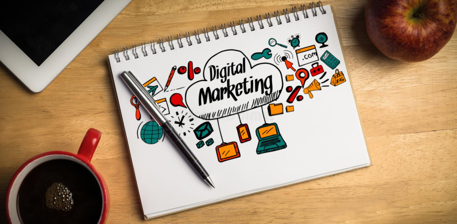 Composite image of composite image of digital marketing text with icons royalty free stock photography