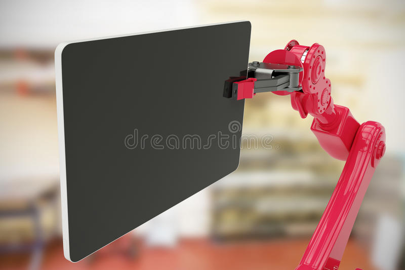 Composite image of composite image of digital tablet held by machine 3d. Composite image of digital tablet held by machine against workshop 3d royalty free stock image