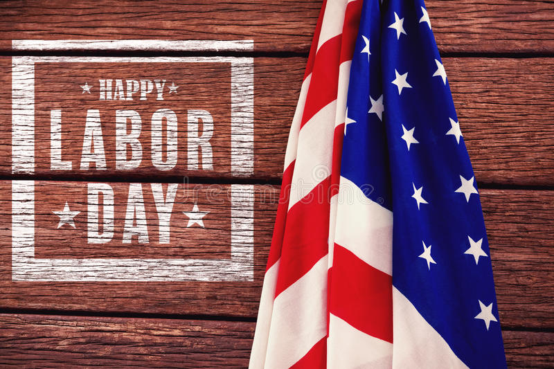 Composite image of composite image of happy labor day poster. Composite image of happy labor day poster against american flag on a wooden table vector illustration
