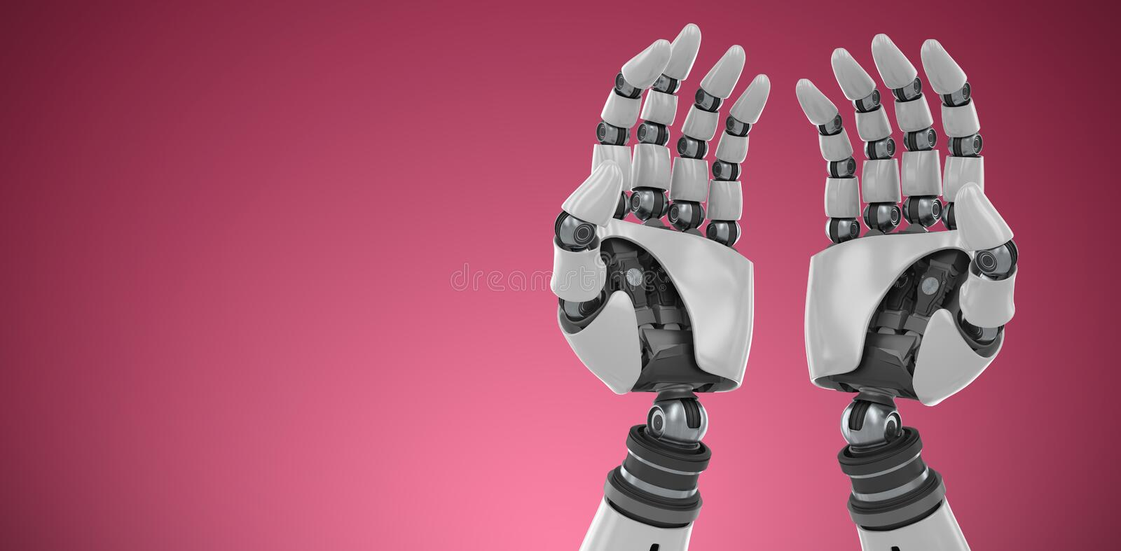 Composite image of composite image of robotic hands against white backgroun. Composite image of robotic hands against white backgroun against red and white royalty free illustration