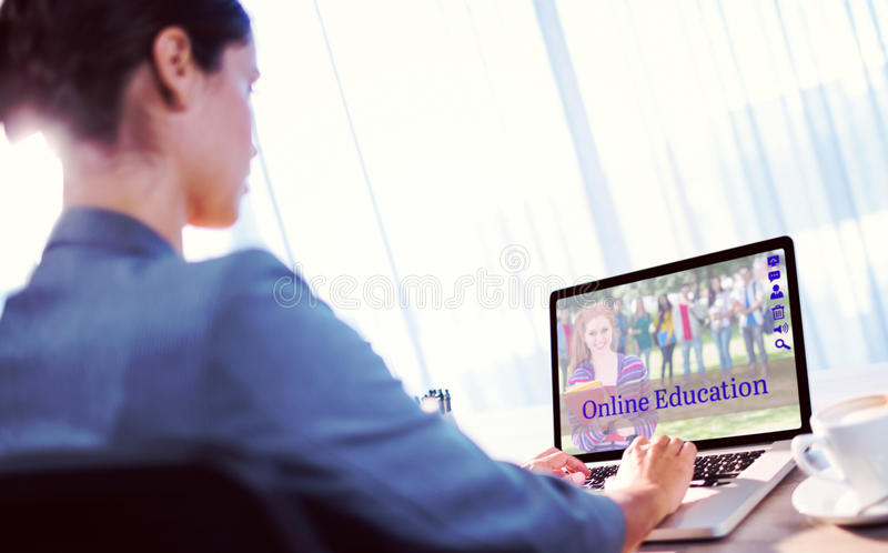 Composite image of composite image of students for online courses royalty free stock photography