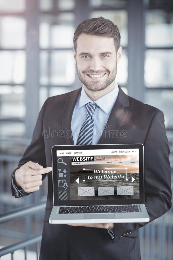 Composite image of composite image of website interface. Composite image of website interface against happy businessman showing laptop stock photos