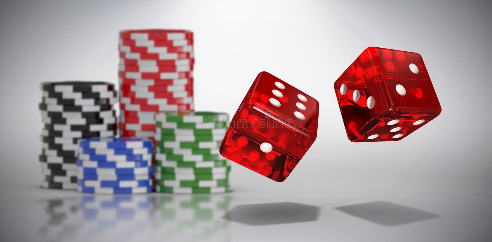 Composite image of computer generated 3d image of red dice. Computer generated 3D image of red dice against grey background vector illustration