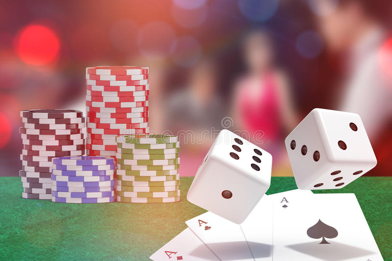 Composite image of computer generated 3d image of red dice. Computer generated 3D image of red dice against people sitting at table playing poker royalty free illustration