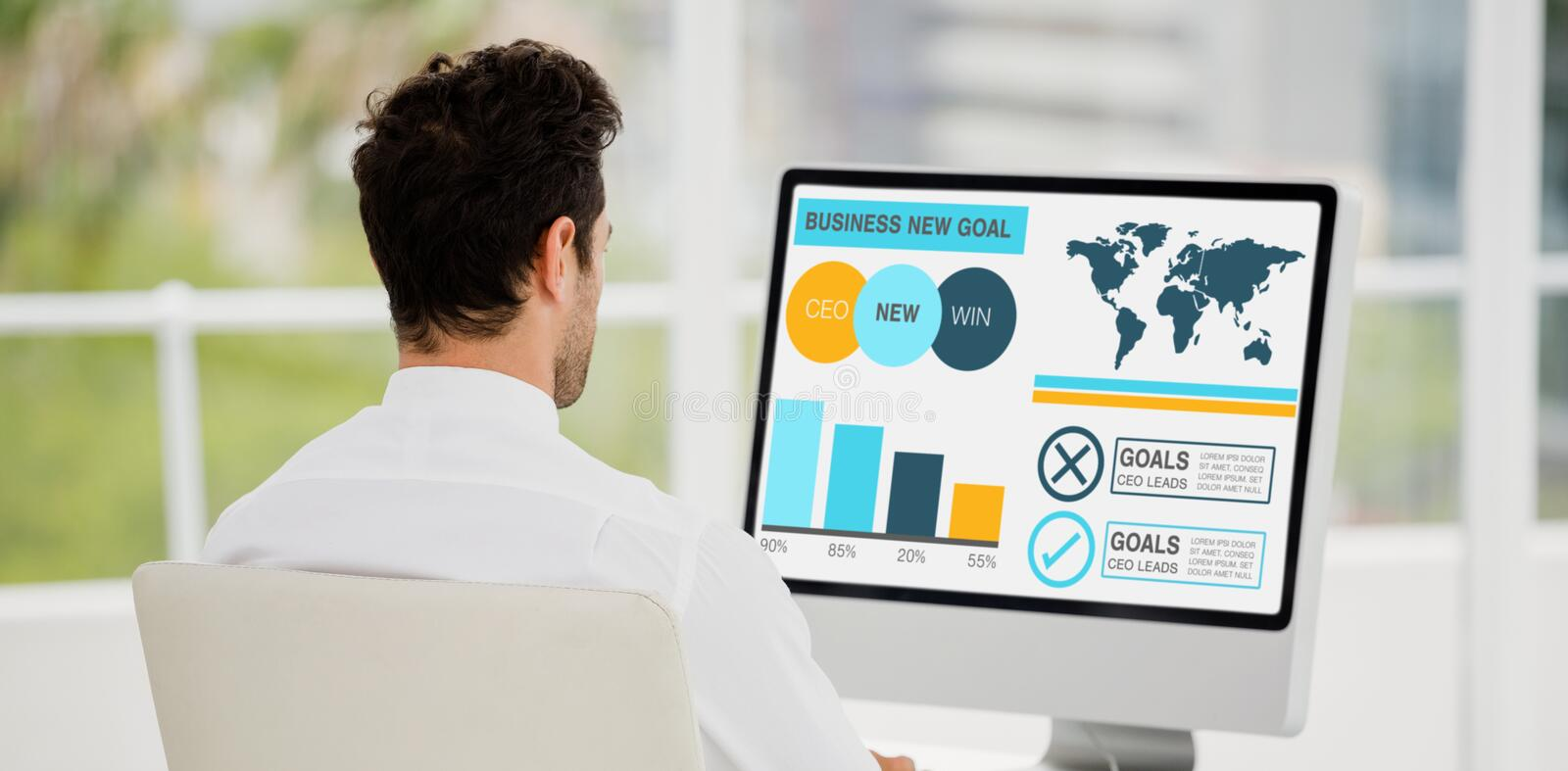 Composite image of computer graphic image of business presentation with charts and text. Computer graphic image of business presentation with charts and text stock photography