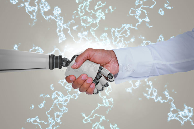 Composite image of computer graphic image of businessman and robot shaking hands stock image