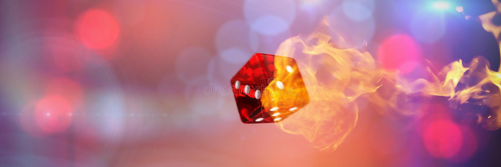 Composite image of computer graphic image of 3d dice. Computer graphic image of 3D dice against fire royalty free illustration
