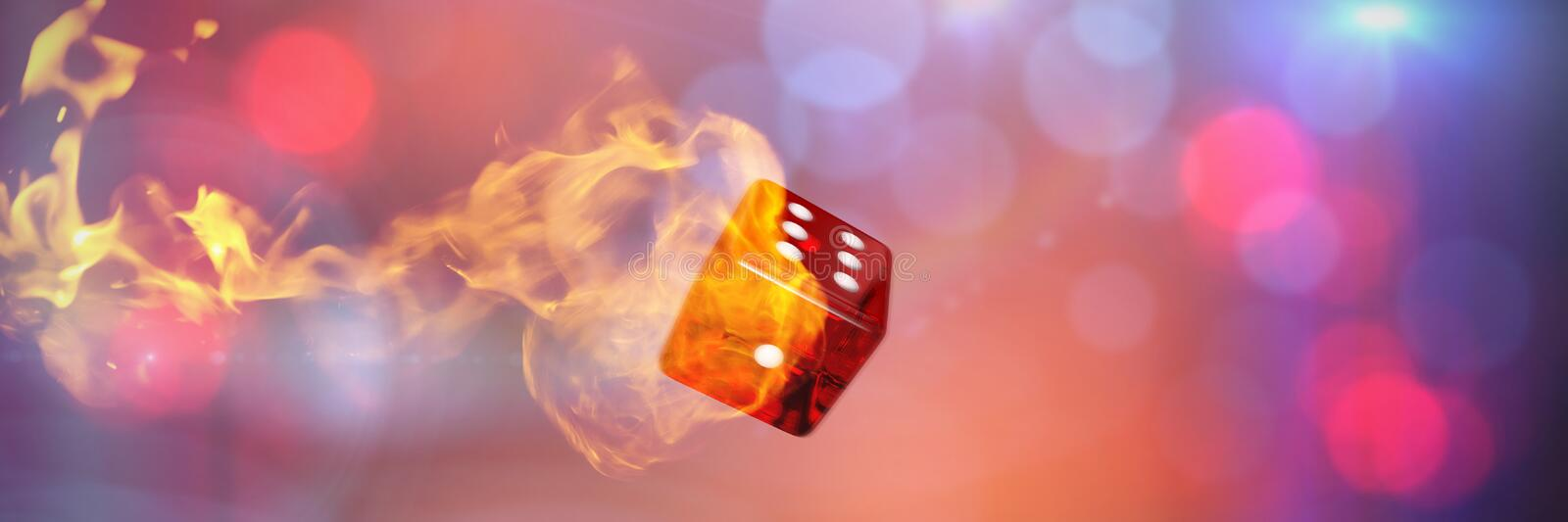 Composite image of computer graphic image of 3d dice. Computer graphic image of 3D dice against fire vector illustration