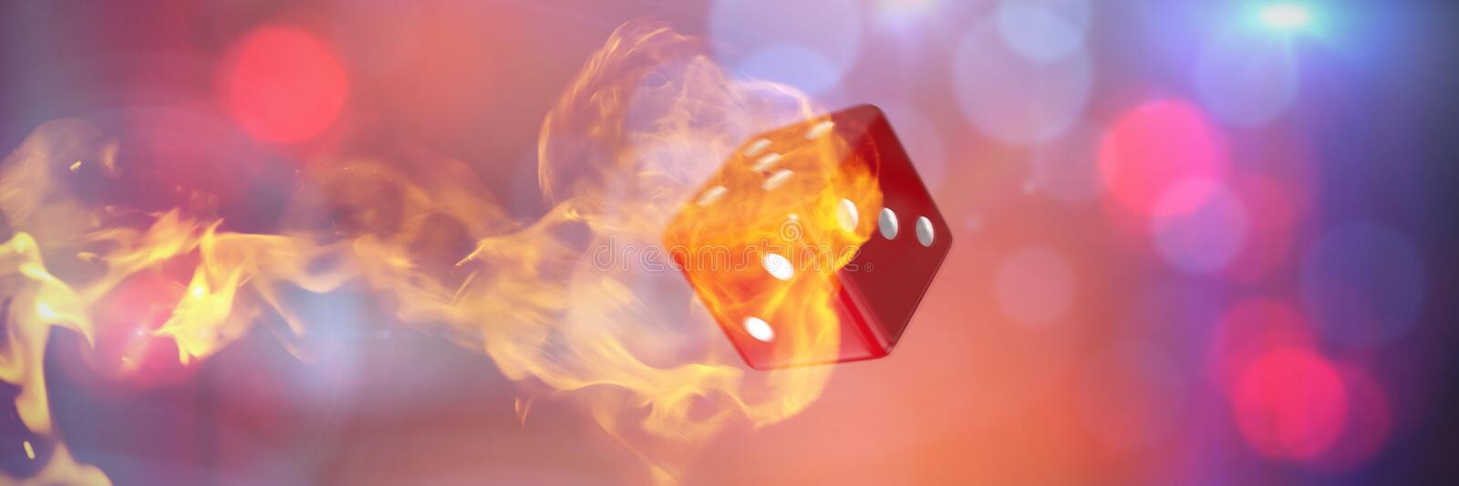 Composite image of computer graphic image of 3d dice. Computer graphic image of 3D dice against fire stock illustration