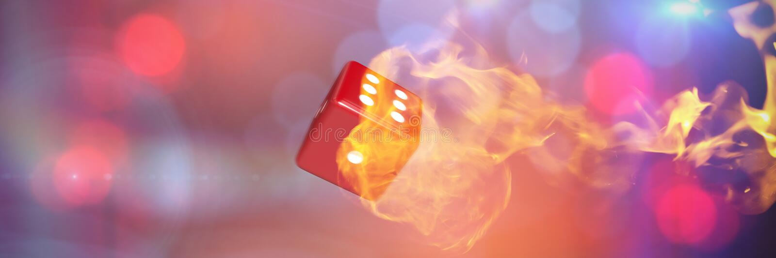 Composite image of computer graphic image of 3d dice. Computer graphic image of 3D dice against fire royalty free stock photo