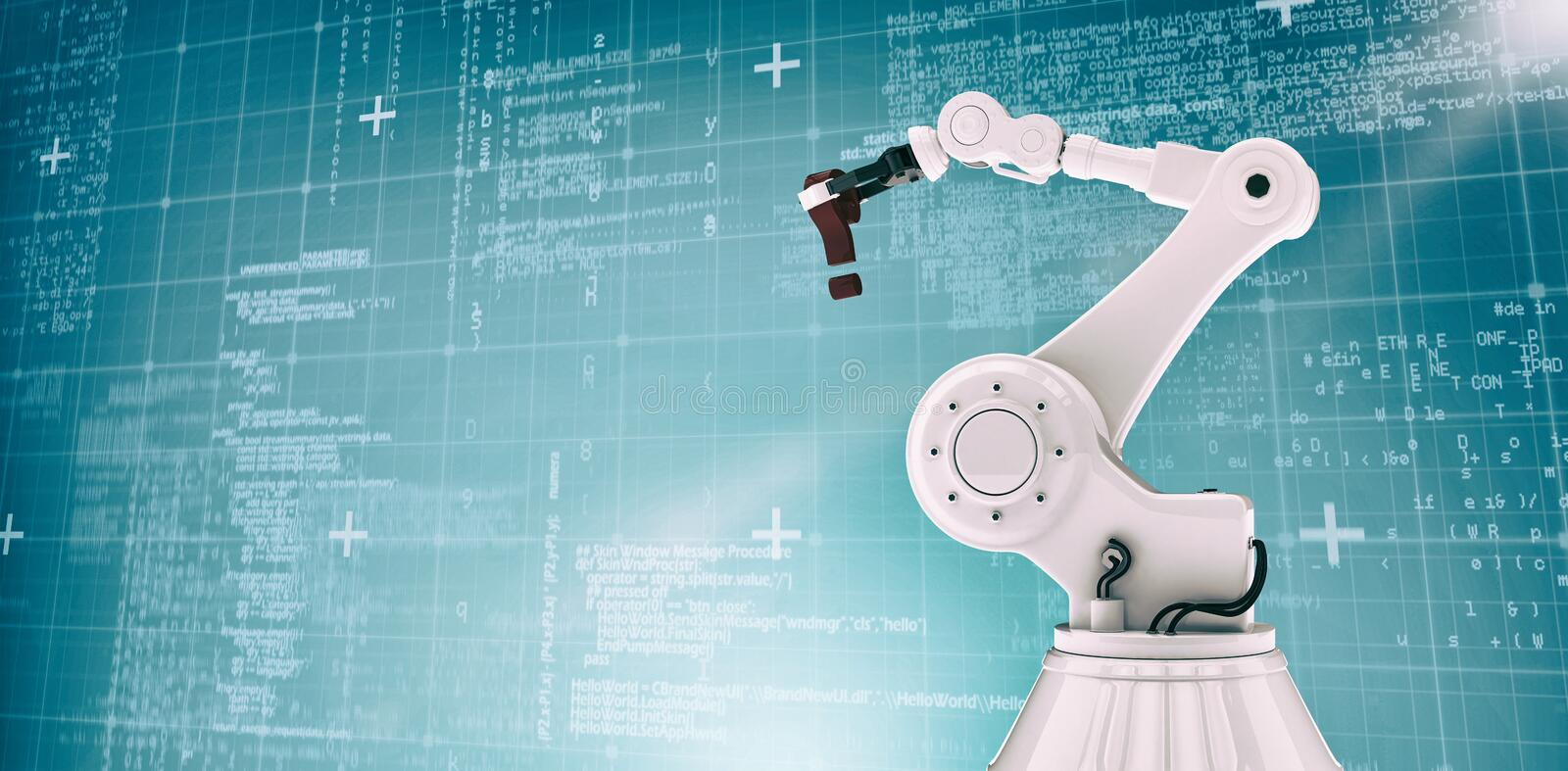 Composite image of computer graphic image of robotic arm holding question mark 3d. Computer graphic image of robotic arm holding question mark against blue royalty free stock photo