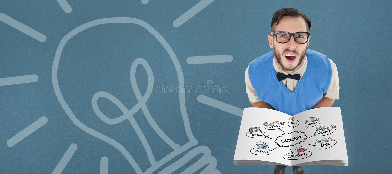 Composite image of concept flowchart. Concept flowchart against blue background royalty free stock photos