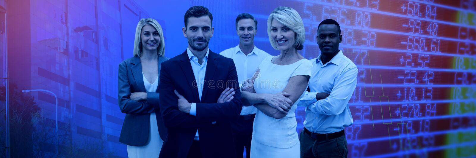 Composite image of confident business people with arms crossed standing over white background stock images