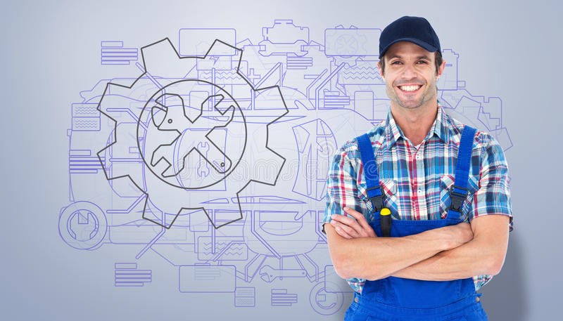 Composite image of confident plumber with arms crossed stock photography