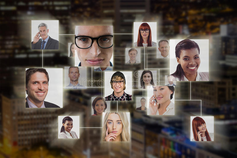 Composite image of connection between people stock images