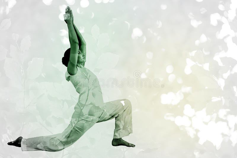 Composite image of content brunette in white doing tai chi vector illustration