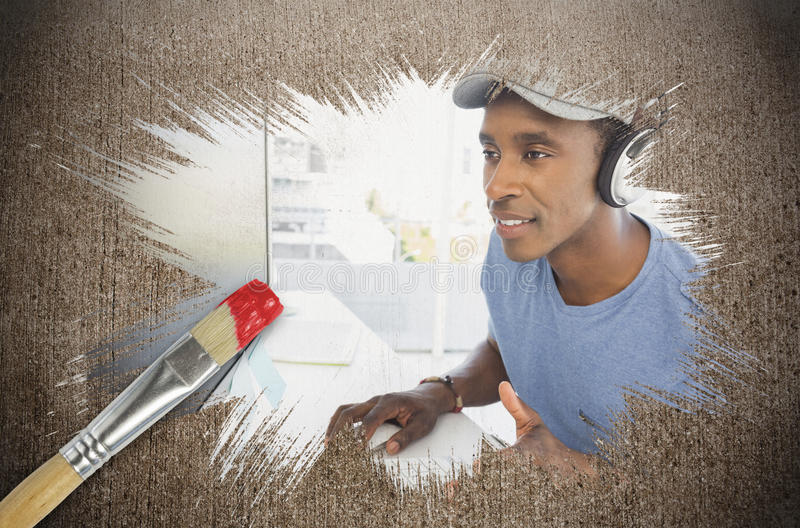 Composite image of cool designer at work royalty free stock photos