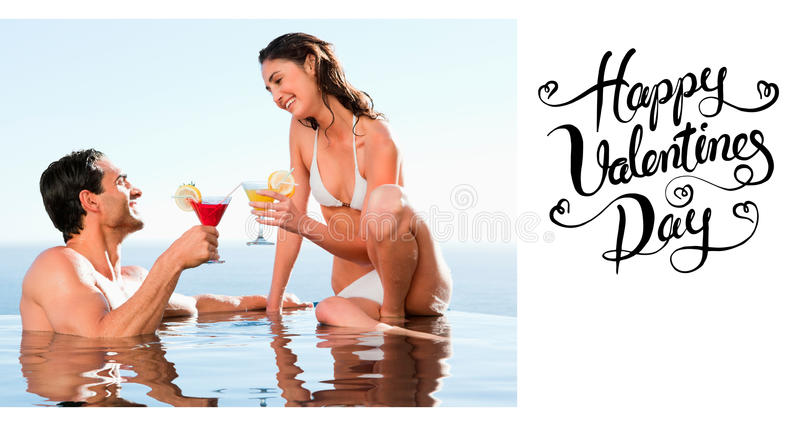 Composite image of couple having cocktails in the pool. Couple having cocktails in the pool against happy valentines day vector illustration
