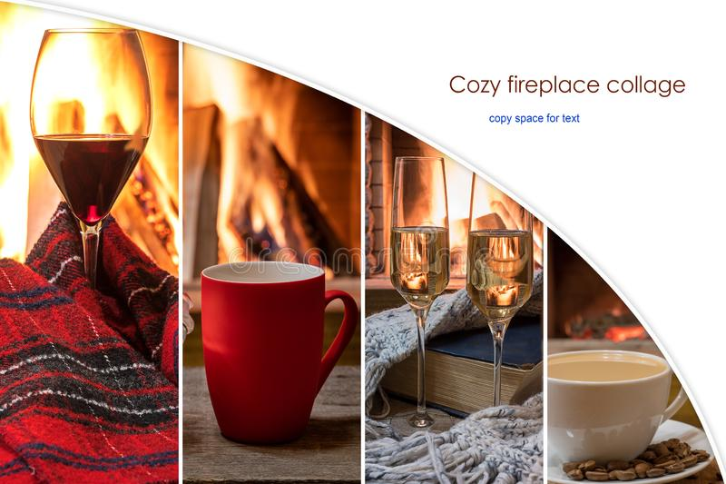 Composite image with cozy fireplace team with copy space stock photo