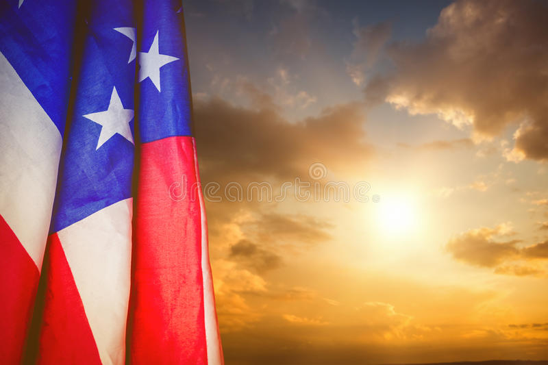 Composite image of creased us flag stock image