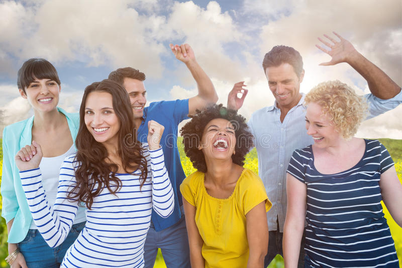 Composite image of creative business team having fun. Creative business team having fun against nature scene royalty free stock photos