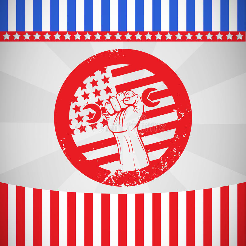 Composite image of cropped hand holding tool and american flag on red poster royalty free illustration