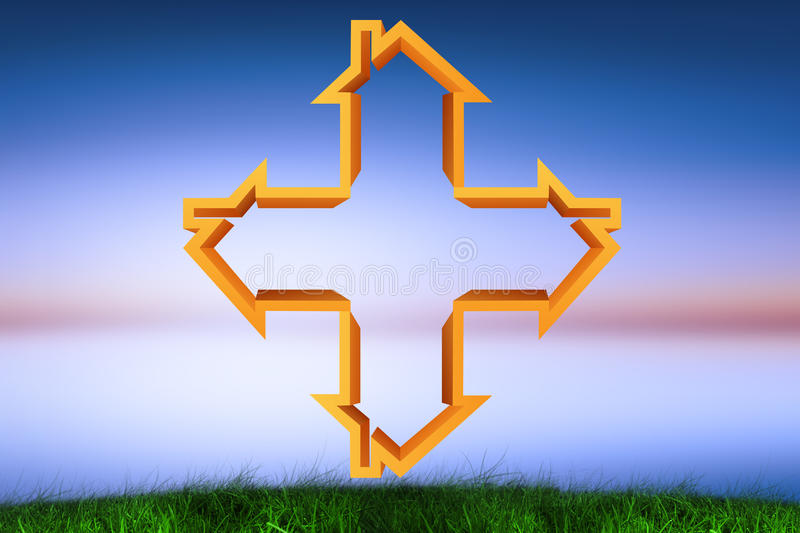Composite image of cross made of houses stock illustration