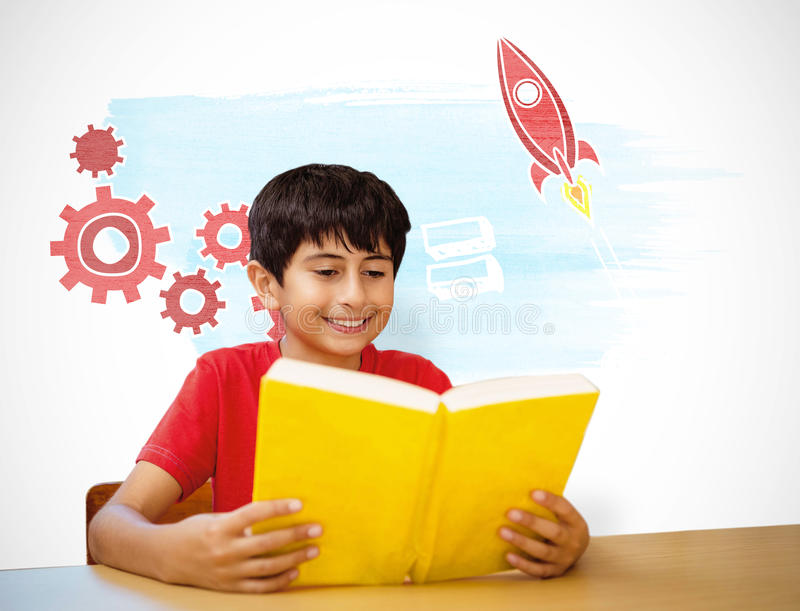 Composite image of cute boy reading book in library. Cute boy reading book in library against white background with vignette royalty free stock photography