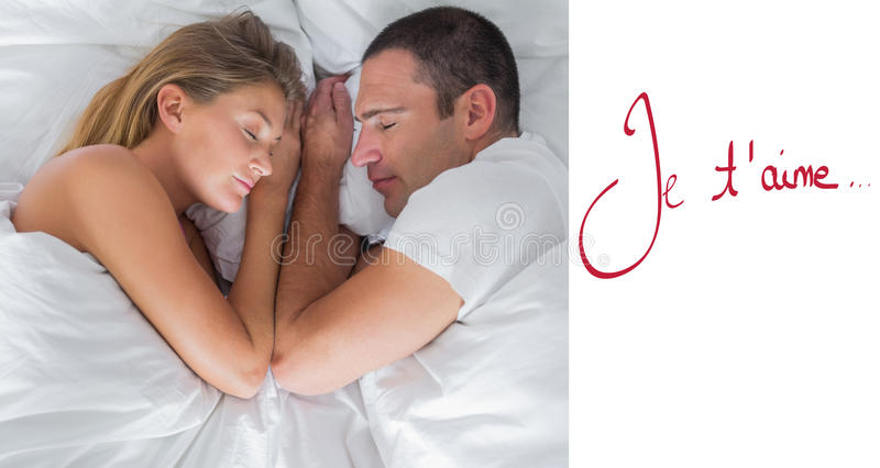 Composite image of cute couple lying asleep in bed stock illustration