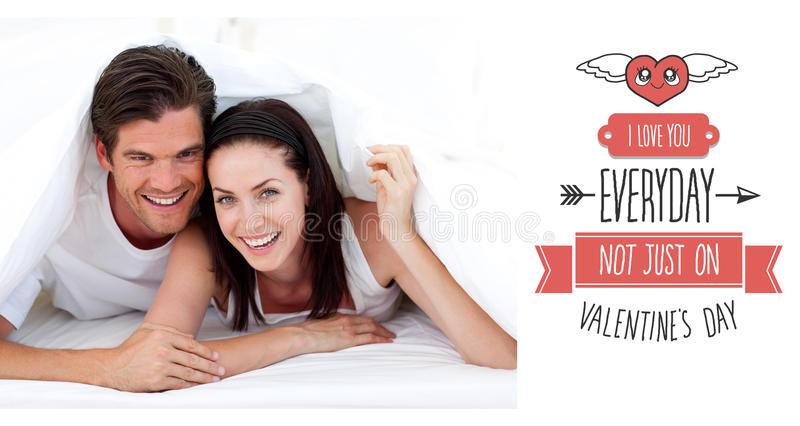 Composite image of cute valentines couple royalty free illustration
