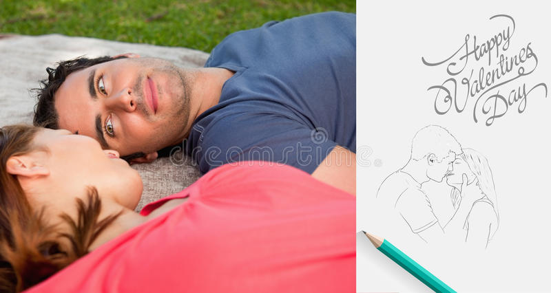 Composite image of cute valentines couple. Man looking into his friends eyes while lying on a quilt against cute valentines message vector illustration