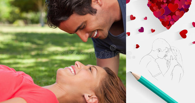 Composite image of cute valentines couple. Man smiling as he looks down into his friends eyes against sketch of kissing couple with pencil vector illustration