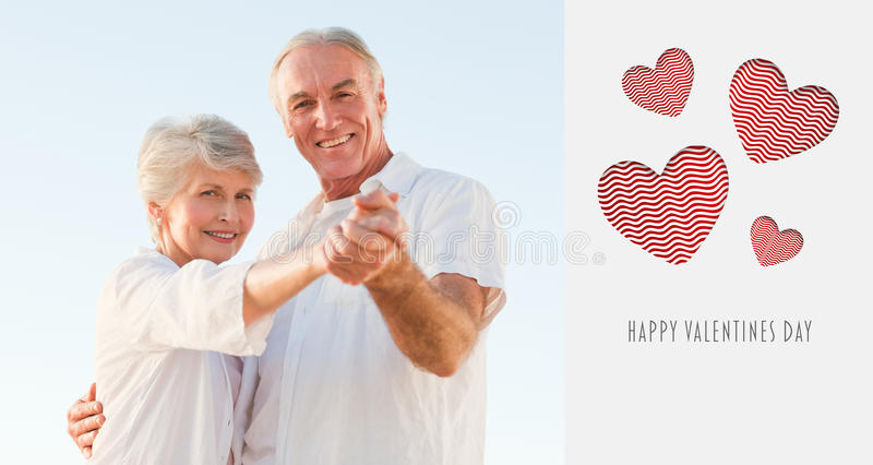 Download Composite Image Of Cute Valentines Couple Stock Illustration - Illustration of beach, gray: 49868129
