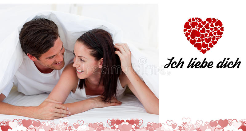 Composite image of cute valentines couple vector illustration