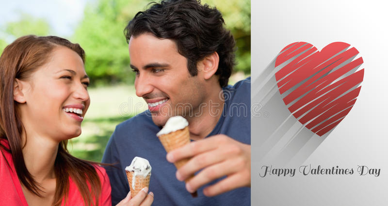 Composite image of cute valentines couple. Two friends laughing while holding ice cream against cute valentines message vector illustration