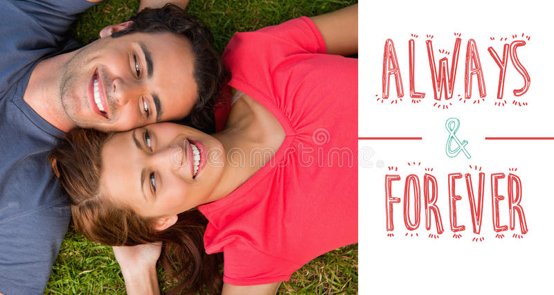 Composite image of cute valentines couple. Two friends looking at each other while lying head to shoulder against always and forever royalty free illustration