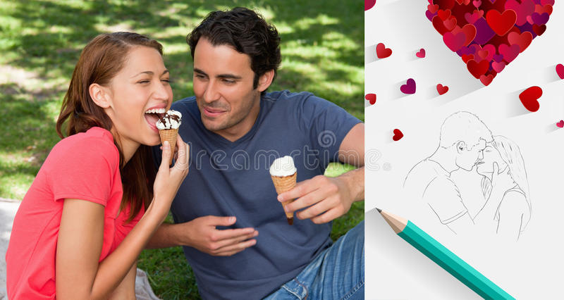 Composite image of cute valentines couple. Woman eating ice cream while sitting with her friend against sketch of kissing couple with pencil stock illustration